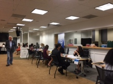 Jobs seekers met with recruiters from The Los Angeles Times, ABC, KTTV, KTLA, EstrellaTV and other organizations at the Los Angeles Journalism Job Fair, June 17, at SAG-AFTRA. Photo by Senta Scarborough
